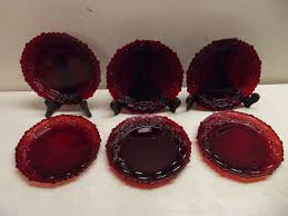ruby red glass cape cod salad plates