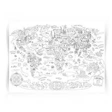 Giant Coloring Poster Wall Size Book Decal Huge Page Oversize The World Theme Doodle Art For Kids Children Adults Family Classroom The World Educational Toys Planet