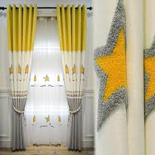 Cartoon Stars Window Curtains Yellow Splice Grey Curtain Fabric For Kids Bedroom Embroidered Tulle For Girls Boys Room Ad193d3 Curtains Aliexpress