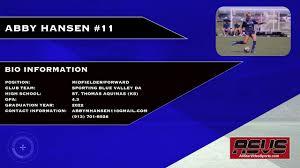 Abby Hansen-Soccer Recruit-2022 Graduate - YouTube