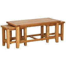 petite oak nest of 3 coffee tables