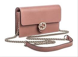chain leather pink cross bag