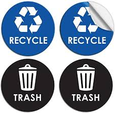 Amazon Com Recycle Sticker Trash Can Decal 6 Large Recycling Vinyl 4 Pack Black Blue Arts Crafts Sewing