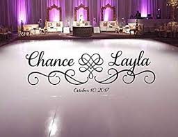 Amazon Com Susie85electra Wedding Dance Floor Decal Hearts With Swirls Scroll Frame Fancy Calligraphy Font Personalized Names Vinyl Lettering Home Kitchen