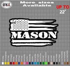 Mason American Flag Vinyl Decal Sticker Mason Decals Etsy