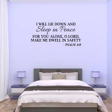Sleep In Peace Psalm 4 8 Bible Verse Lettering Wall Decal Decor Quote Jm128 Walmart Com Walmart Com