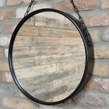 rope hanging mirror rustic industrial