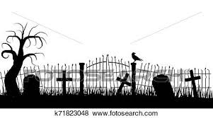 Halloween Graveyard Fence Silhouette With A Raven And Tombstones Clip Art K71823048 Fotosearch