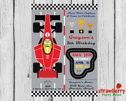 Race Car Birthday Invitation Racing Formula 1 Boy Birthday F1