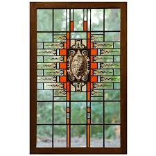 art deco stained glass window with