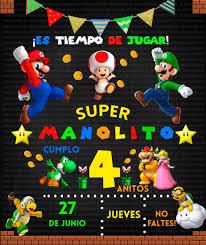 Invitaciones Super Mario Bros Y Luigi Personalizadas 7 00 En