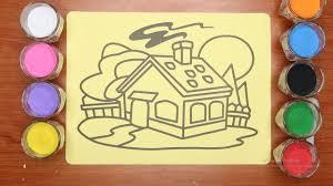 Đồ chơi tô màu tranh cát ngôi nhà hạnh phúc | Colored sand painting happy  house toy - YouTube