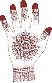 Amazon Com Red Henna Tattoo Mandala Flower Hand Art Cartoon 3 Vinyl Decal Sticker 4 Tall Automotive