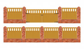 Brick Fence With Wooden Gate Illustration Isolated On White Background Premium Vector