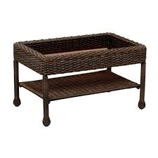 brown wicker outdoor coffee table