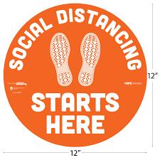Tabbies 29001 Besafe Messaging Social Distancing Starts Here Footprints Circle Vinyl Floor Decal 12 X 12 I Affordable Floor Decals