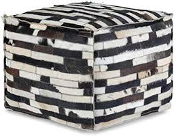 Amazon Com Simpli Home Dempsey Square Pouf Footstool Upholstered In Multi Black Leather For The Living Room Bedroom And Kids Room Transitional Modern Furniture Decor