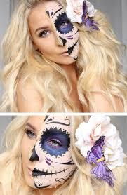 easy half skull makeup tutorial