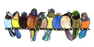 10 inch tall leaded stained glass birds