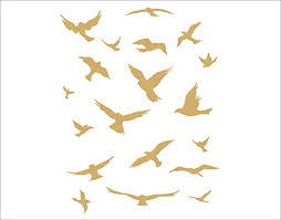 Amazon Com Arise Graphics Flock Of Birds Wall Decal Metallic Gold Home Kitchen