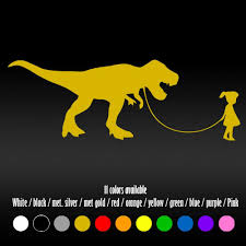 Amazon Com Shopforallyou Stickers Decals Color Gold 7 Girl Walking T Rex Dino Dinosaur Car Trunk Window Diecut Vinyl Decal Sticker Sports Outdoors