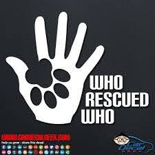 Dog Paw Who Rescued Who Car Decal Sticker Dog Decals