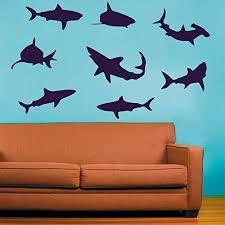 Amazon Com Odelette Bush Shark Wall Decal Sets Ocean Life Wall Decal Ocean Themed Kids Room Vinyl Wall Mural Decoration Kitchen Dining