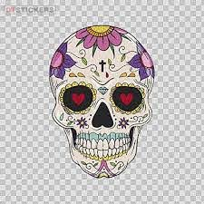 Amazon Com Stickers Hobby Vinyl Decal Floral Colorful Skull Hobby Decor 5 X 3 43 In Kitchen Dining