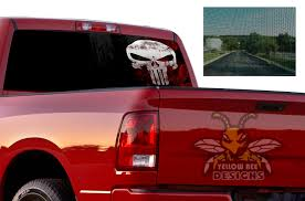 Punisher Perforated Vinyl Dodge Ram 2500 Sun Protection Decals