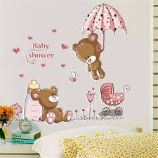 Cute Cubs Umbrella Cartoon Cartoon Animation Bear Removable Pvc Kids Baby Nursery Child Home Decor Mural Wall Sticker 2020 Fk4 Wall Stickers Aliexpress