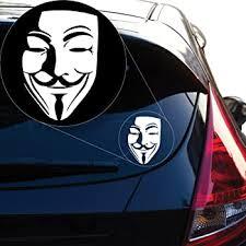 Amazon Com Anonymous Guy Fawkes Vinyl Car Window Decal Sticker White Automotive