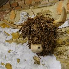 voyage maison highland cow wood wall