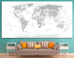 15 Off Coupon On Large Gray World Map Canvas Wall Art Push Pin Gray Travel Detailed World Map Gray World Wall Map Canvas Print On 1 3 Or 5 Map Canvas Print