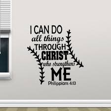 I Can Do All Things Through Christ Who Strengthens Me Wall Decal Quote Philippians 4 13 Poster Religious Sticker Decor X45 Wall Stickers Aliexpress
