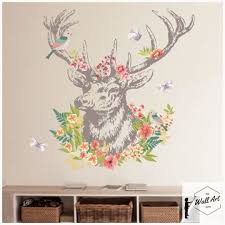 Dear Head Wall Sticker For Home Decor Wall Stickers Living Room Wall Stickers Flower Room