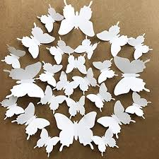 Amazon Com V Time 3d White Butterfly Wall Stickers 24 Pieces Removable Mural Stickers Wall Stickers Decal For Home And Room Decoration Kids Room Bedroom Decor Living Room Sticker White Home Kitchen