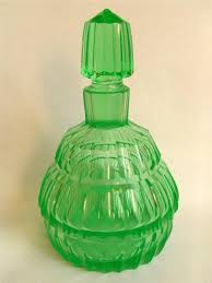 green uranium glass perfume bottle