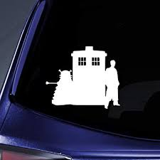 Amazon Com Bargain Max Decals Dalek Tardis Combo Doctor Sticker Decal Notebook Car Laptop 5 White Automotive