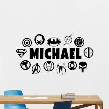 Amazon Com Personalized Superheroes Wall Decal Custom Name Dc Marvel Logo Comics Superhero Vinyl Sticker Wall Decor Customized Wall Art Kids Teen Boy Room Design Ink Stencil Bedroom Wall Decor Mural 163zzz Home