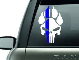 K9 Punisher Paw Print Police Support Vinyl Decal Barbells And Handcuffs