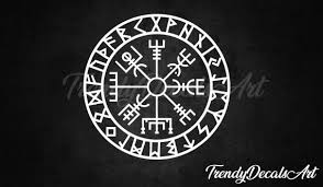 Nordic Compass Decal Viking Compass Vinyl Sticker Iceland Etsy