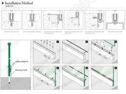 glass barade detail aluminum base