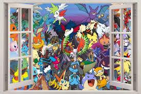 Amazon Com Pokemon 3d Window Decal Wall Sticker Decor Art Mural Charizard Pikachu Ash H699 Mega Home Kitchen