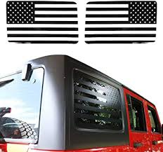 Amazon Com Jecar American Flag Window Decal Vinyl Rear Window Sticker For 2011 2018 Jeep Wrangler Jku 4 Door Automotive