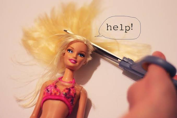 Image result for cutting barbie hair""