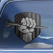 Amazon Com Ironworker Superhero Fist American Flag Iron Working Spud Wrench Hero Hand Hardhat Car Window Decal Sticker Handmade