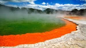 geyser lake rotorua in new zealand hd