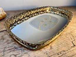 vintage dresser mirror gold filagree