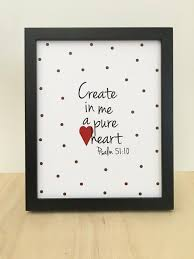 Christian Wall Art Girls Scripture Art Create In Me A Pure Etsy