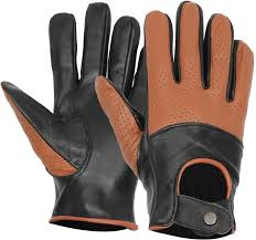 tan brown and black leather gloves for men